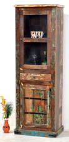 Vintage Möbel Kolonial Vitrine 60x178x45cm Massiv