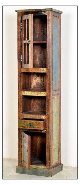 Vintage Möbel Hochschrank 44x189x34cm Massiv