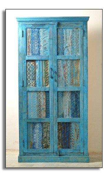 Blauer Schrank 80x180x45cm Altholz Möbel massiv