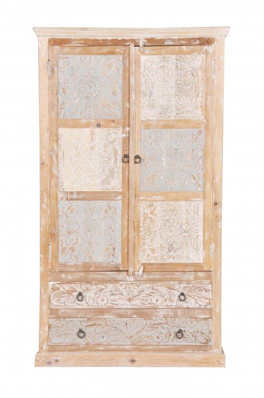 Shabby Chic Vintage Schrank Kleiderschrank 107x188x50cm Massiv
