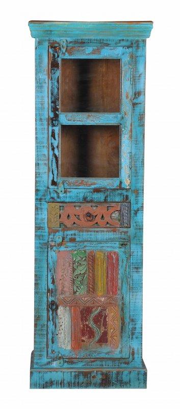 Vintage Möbel Blaue Vitrine 60x178x40cm Massiv
