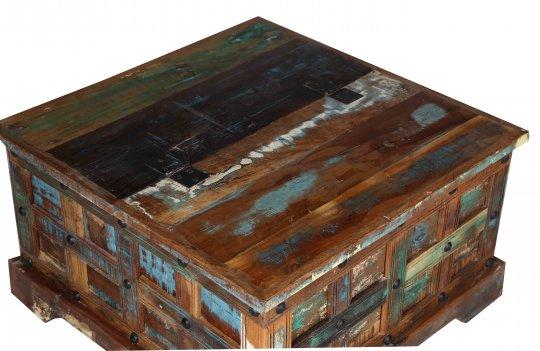 Vintage Massivholz Couchtischtruhe 70x40x70cm