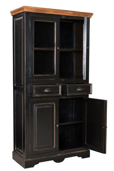 Kolonial Möbel Vitrine 90x180x40cm Massiv