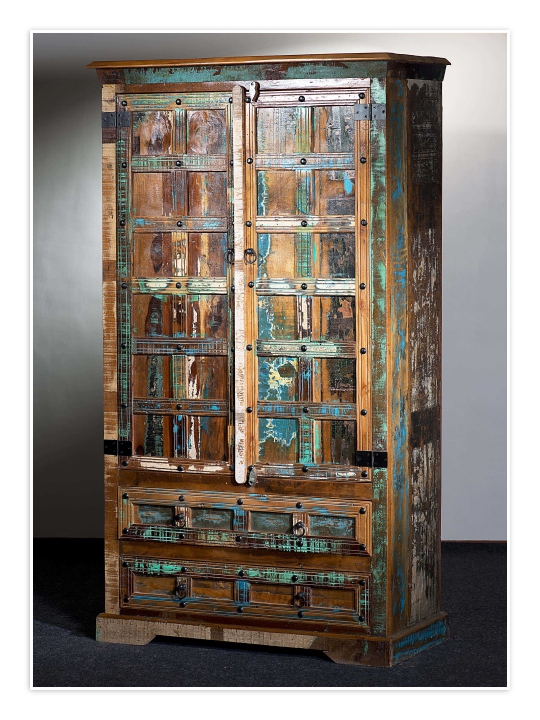 Vintage Massivholz Schrank 107x188x50cm