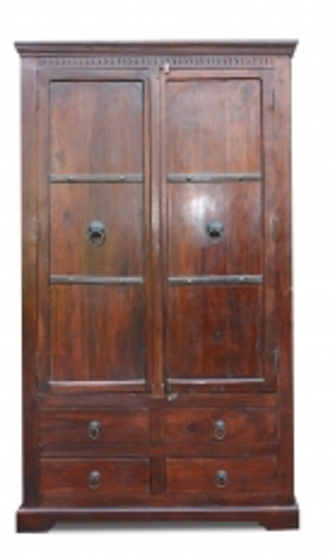 Kolonial Kleiderschrank 107x190x60cm Kolonialmöbel Massiv