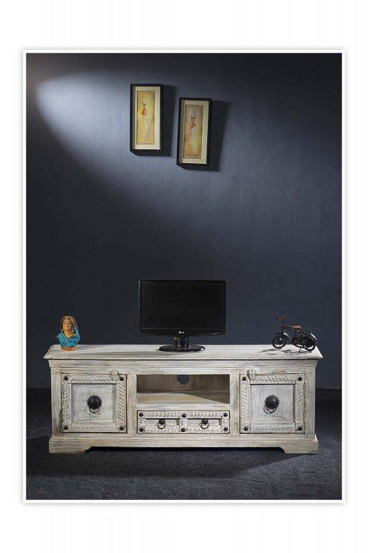 Shabby Chic Möbel TV Board 140x50x40cm Massiv