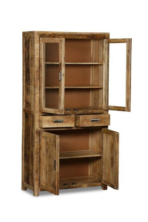 Massivholz Möbel Vitrine 90x180x40cm