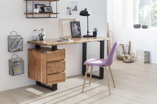 Massivholz Schreibtisch Baumkante 147x80x62cm Akazienholz