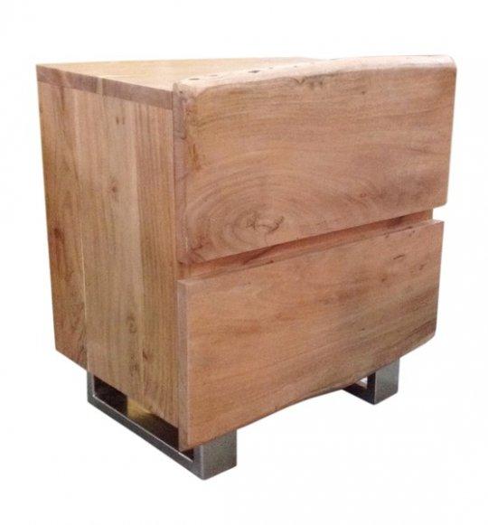 Massivholz Nachttisch Baumkante Kommode 50x63x37cm Akazienholz