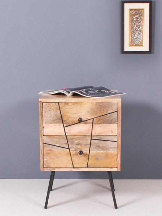 Vintage Massivholz Möbel Nachttisch Kommode 40x56x40cm