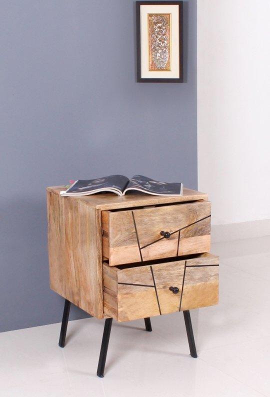 Vintage Massivholz Möbel Nachttisch Kommode 40x56x40cm-nur 1x am Lager