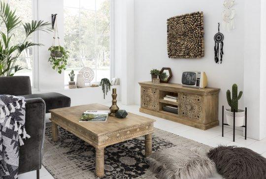 Vintage Massivholz Möbel Couchtisch 120x40x70cm