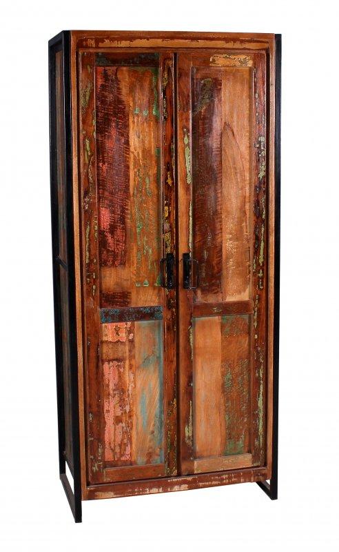 Retro Möbel Schrank 80x180x45cm Massiv