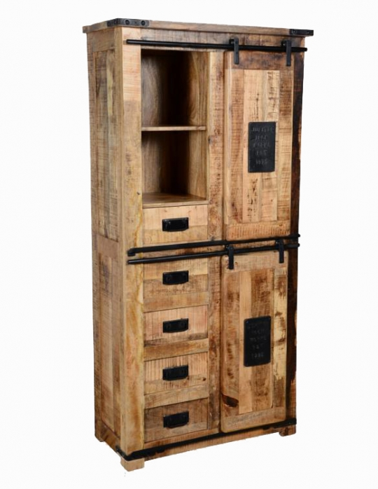 Vintage Massivholz Schrank 90x180x40cm