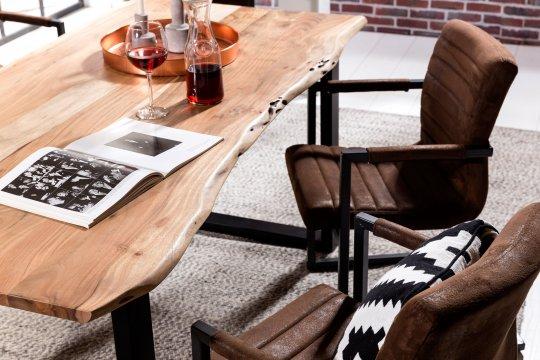 Tisch Akazienholz mit Baumkante Natur Gestell Antikschwarz 80x140cm Plattenstärke: 2,6 cm