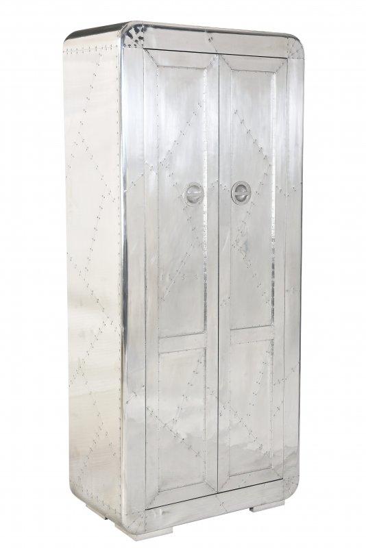 Silber Schrank aus Mangoholz mit Alu 80x180x40cm