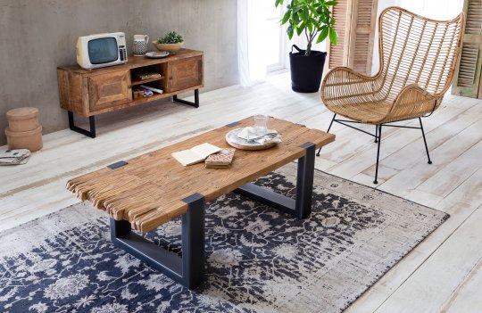Antikfinish Holz Möbel Couchtisch 130x46x60cm Massiv