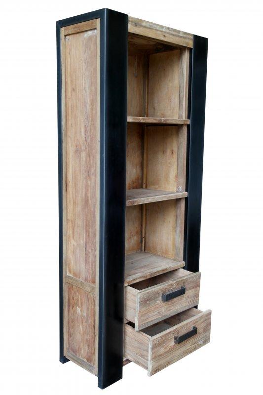 Antikfinish Teakholz Möbel Regal 88x202x40cm Massiv