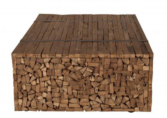 Massivholz Couchtisch Natur 110x35x72cm recyceltes Teak