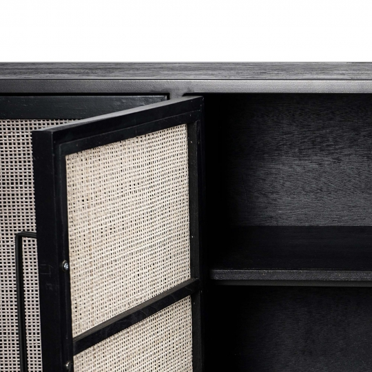 TV Board Anrichte Rattan Metall 200x77x45cm Massiv