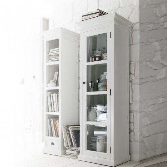 Vitrine Weiß 70x190x40cm Massiv
