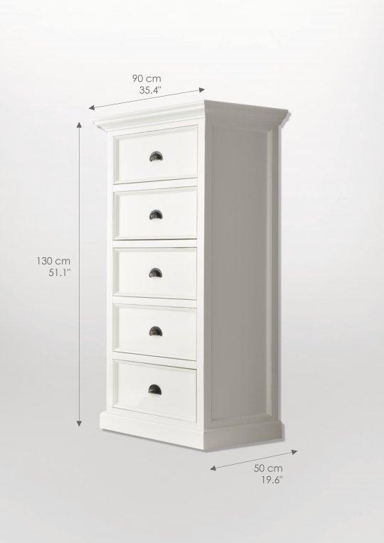 Kommode Weiß 90x130x50cm Massiv