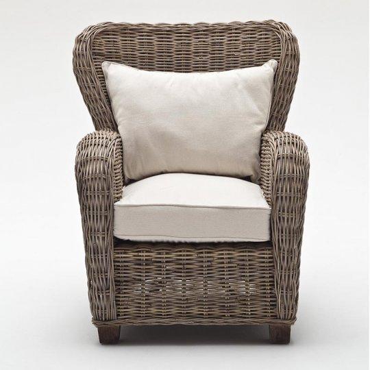 Rattan Armlehnstuhl Sessel mit Sitz- und Rückenkissen 64x110x68cm Massiv