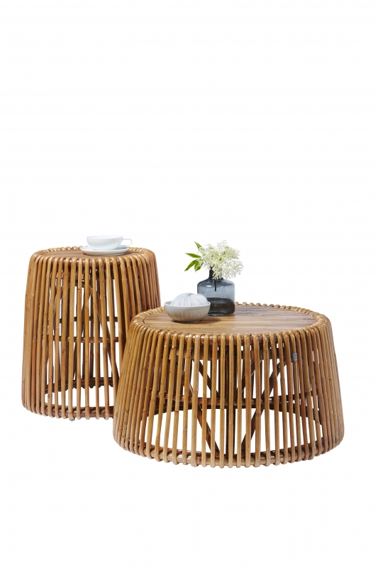 Tisch aus Rattan und Teak 50x53x50cm