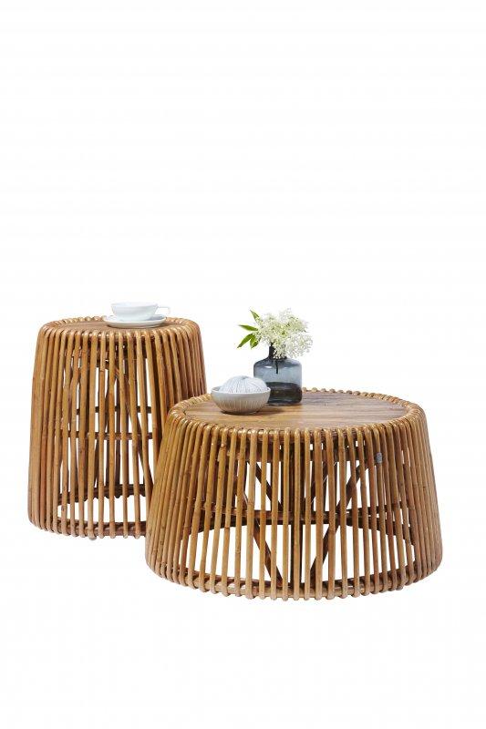 Tisch aus Rattan und Teak 69x38x69cm