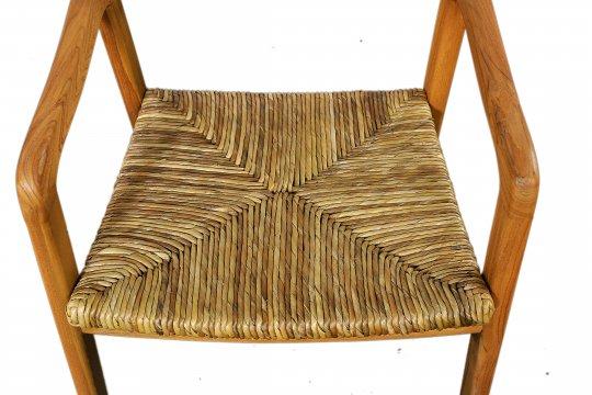 Armlehnstuhl mit Rattan-Sitz 55x75x58cm