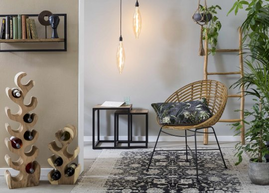 Rattanstuhl im Vintagestil mit runder Sitzschale 70x88x63cm
