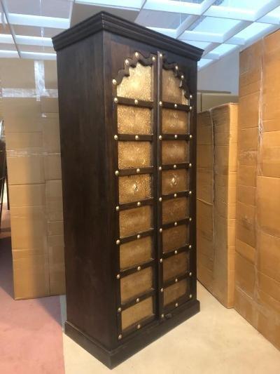 Kolonialmöbel Schrank 97x180x45cm Massivholz mit Verzierungen