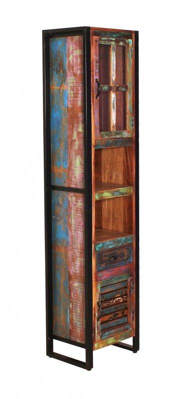 Vintage Massivholz Hochschrank 44x190x34cm