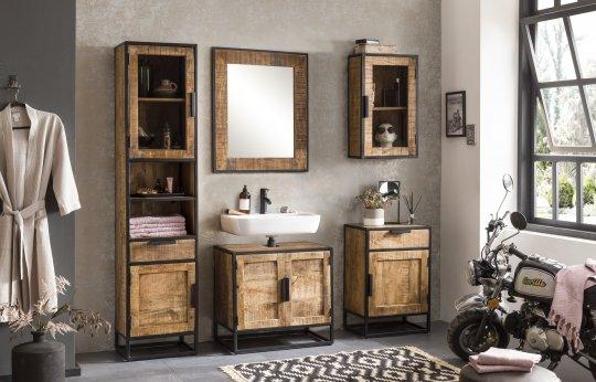 Vintage Massivholz Möbel Hängeschrank 44x72x21cm Mangoholz Metall