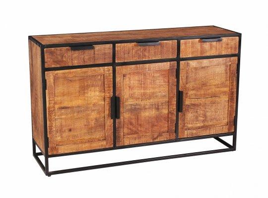 Vintage Massivholz Möbel Sideboard 140x90x40cm Mangoholz Metall