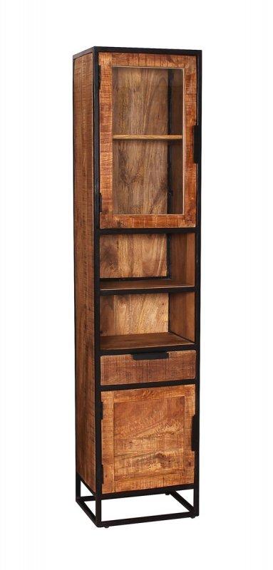 Vintage Massivholz Möbel Hochschrank 44x190x34cm Mangoholz Metall