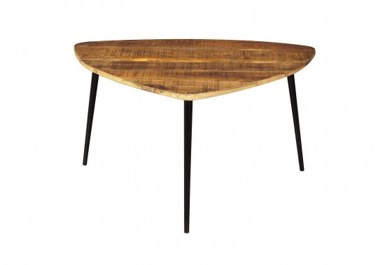 Vintage Massivholz Möbel Couchtisch 80x47x80cm Mangoholz Metall