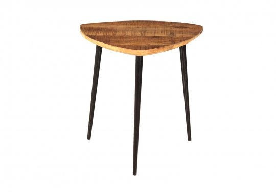 Vintage Massivholz Möbel Couchtisch 54x41x49cm Mangoholz Metall