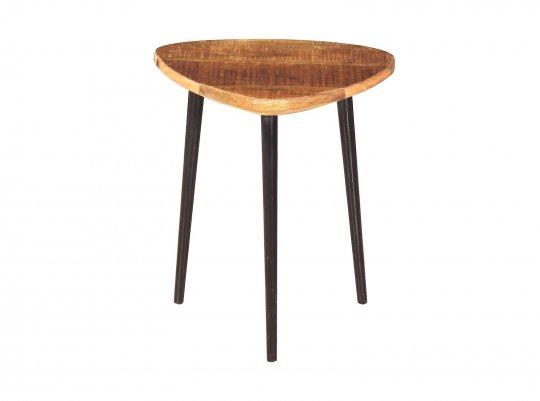 Vintage Massivholz Möbel Couchtisch 40x37x37cm Mangoholz Metall
