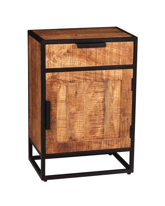 Vintage Massivholz Möbel Kommode 67x62x42cm Mangoholz Metall