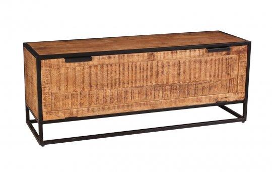 Vintage Massivholz Möbel Schuhschrank 130x50x40cm Mangoholz Metall