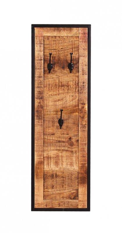Vintage Massivholz Möbel Garderobe 35x110x3cm Mangoholz Metall