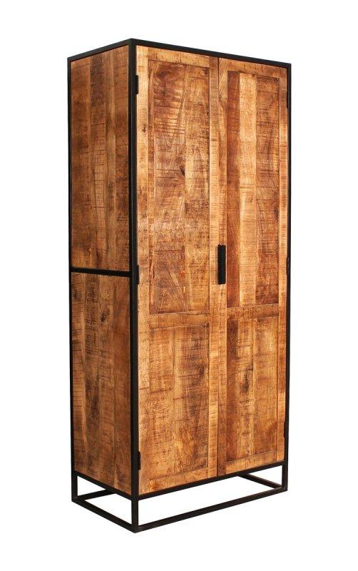 Vintage Massivholz Möbel Schrank 80x180x45cm Mangoholz Metall