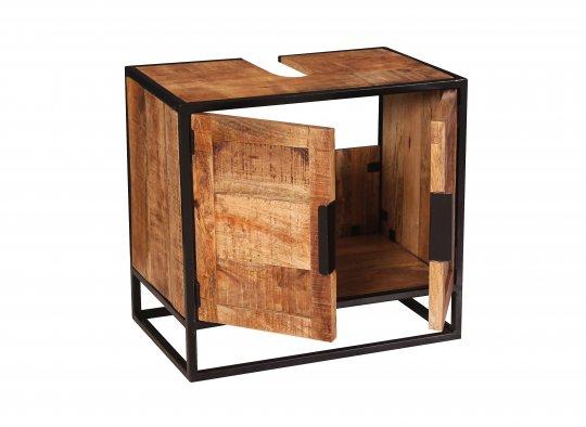 Vintage Massivholz Möbel Unterschrank 67x62x42cm Mangoholz Metall