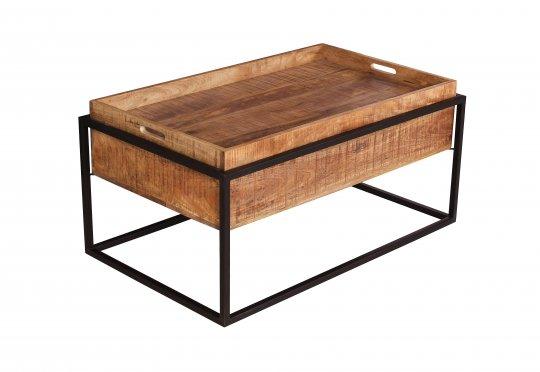 Vintage Massivholz Möbel Couchtisch 100x47x60cm Mangoholz Metall