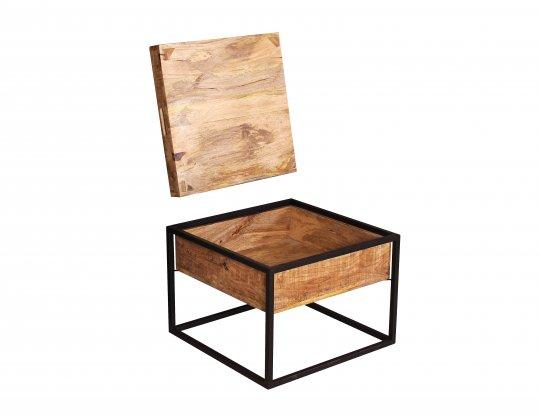 Vintage Massivholz Möbel Couchtisch 60x47x60cm Mangoholz Metall