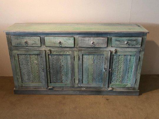 Shabby Chic Möbel Vintage Sideboard blue white 170x90x40cm