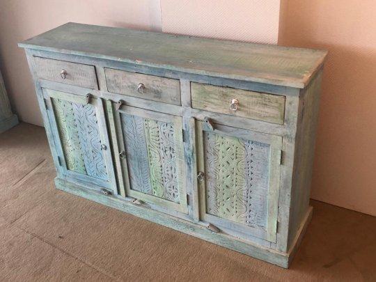 Shabby Chic Vintage Sideboard blue white 150x95x40cm Massivholz