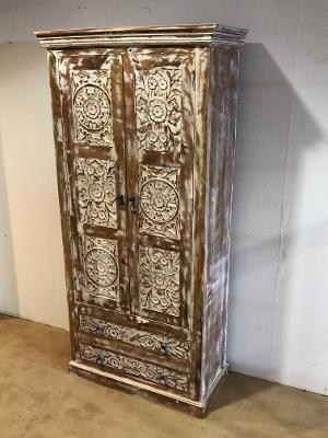 Shabby Chic Möbel Vintage Schrank Kleiderschrank 85x180x40cm