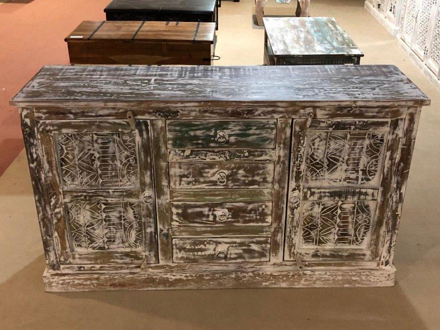 Bevorzugt Shabby Chic Möbel Vintage Kommode weiß 140x80x40cm CK64